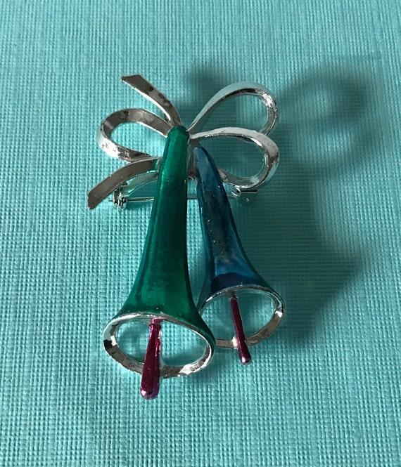 Vintage Christmas bells brooch, jingle bells brooc