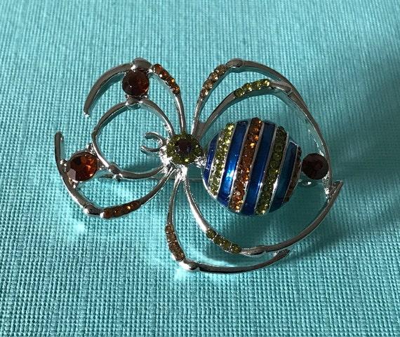 Rhinestone spider brooch, blue rhinestone spider p