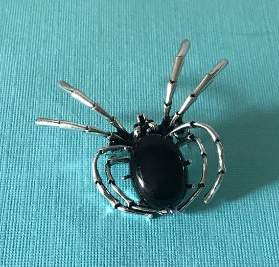 Black spider pin, spider jewelry, Halloween spider