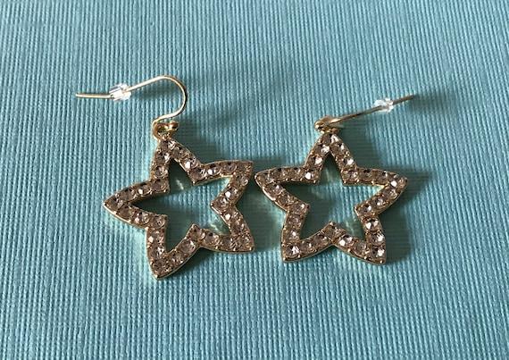 Rhinestone star earrings, Star jewelry, star dangl