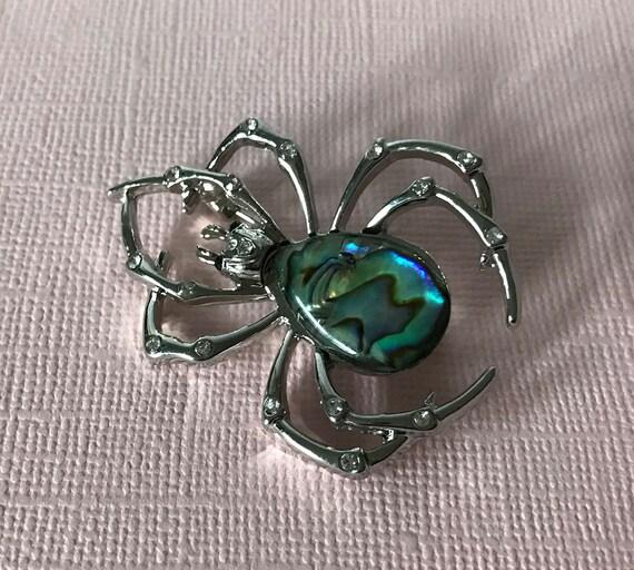 Abalone spider brooch, rhinestone spider pin, spid