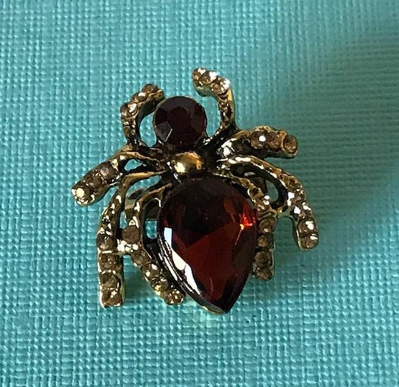Rhinestone spider brooch, brown spider pin, brown