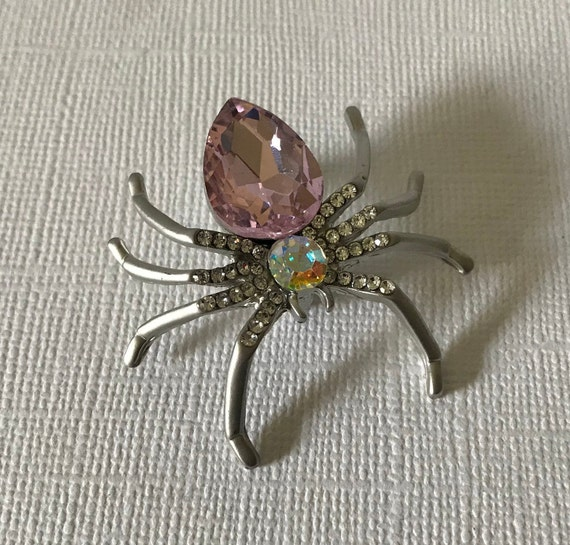 Spider Red and Maroon Rhinestone Spider Brooch with Black Rhinestone Accent stones jewelry pin