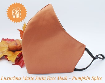 Rust Orange adjustable face mask with nose wire, three layer fabric non medical mask, fashionable fall colours fitted mask for men and women
