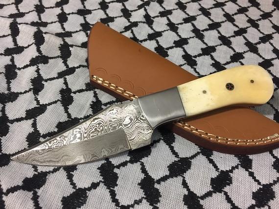 Cuchillo De Damasco Con Mango De Hueso De Camello Caso De Etsy