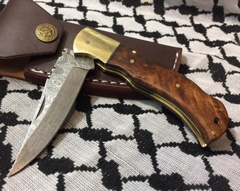 Custom Made Damascus Folding Knife With a Walnut Wood Handle + Leather Case Damascus Knife Gift For Man