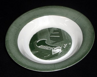 Colonial Homestead Orphan Saucer s Bucket Art  by Royal China Co USA Made Green Lovely