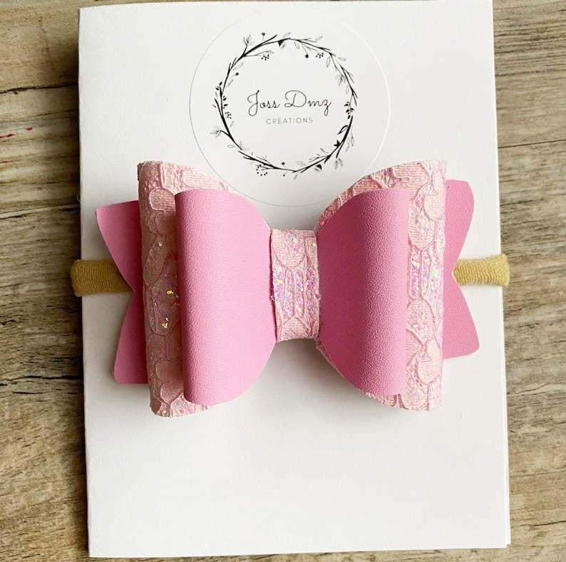 Pink Faux Leather Layered Bow Headband