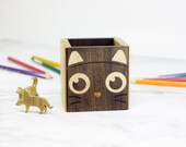 Cat Walnut Wood Pen Holder Inlay Pencil Cup Organizer Cat lover gift