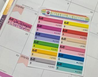 Bill Due Stickers | Erin Condren, Happy Planner, etc.