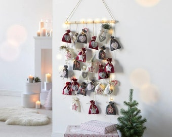 Advent calendar with string of lights / Advent calendar to fill / Adevent calendar / Bag Advent calendar