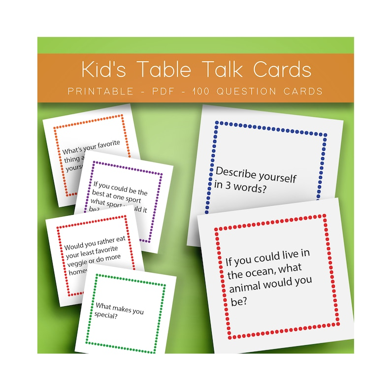 photograph about Printable Conversation Cards identify Printable Communication Starters, Children Discussions Starters, Desk Communicate, Young children Online games