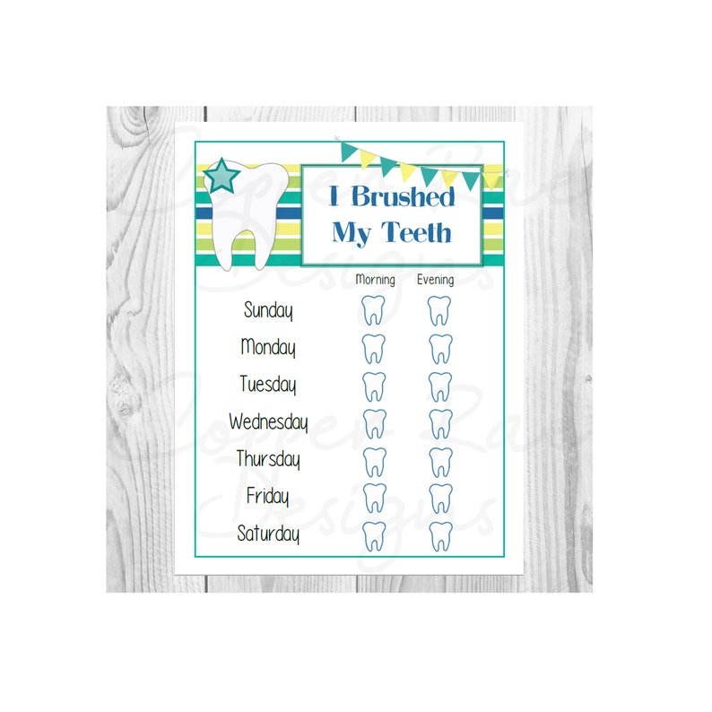 image regarding Printable Tooth Brushing Chart identify Printable Young children Teeth Brushing Chart, Blue, Eco-friendly, Yellow