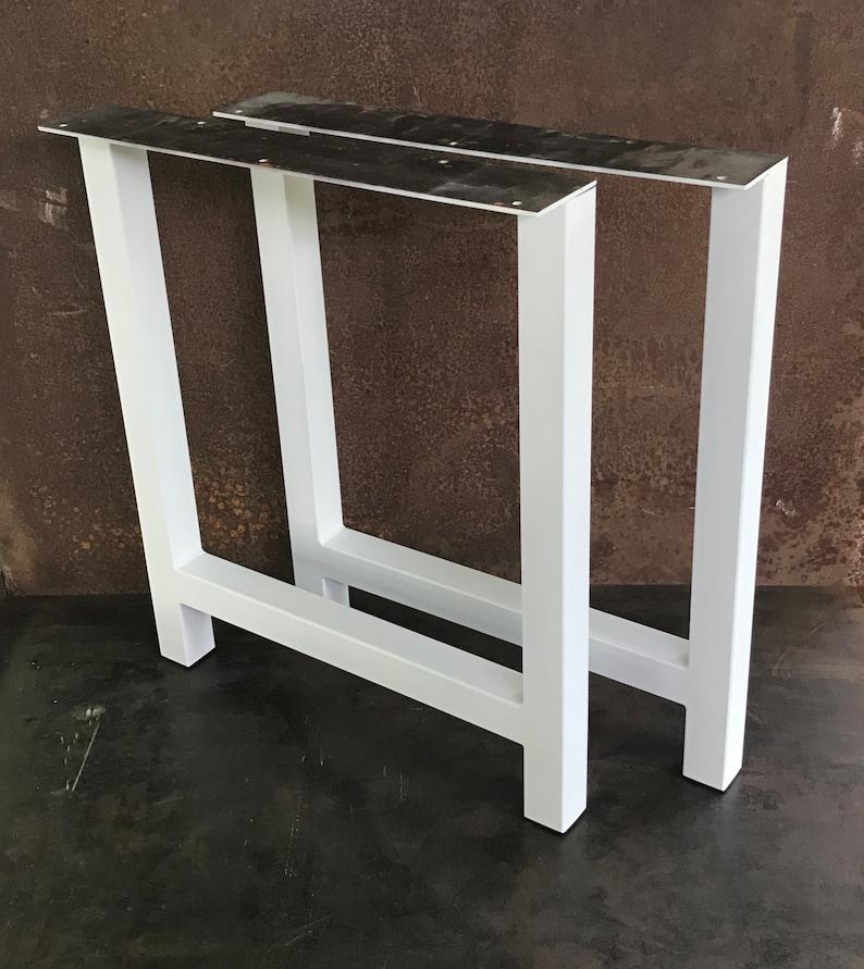 Set of 2 Steel Table Legs 2x2 H Flat White