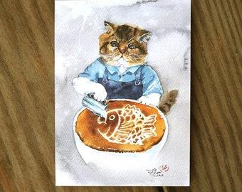 Latte Coffee Cat Watercolor Painting Cat Watercolor Postcard Digital printed Food postcard Cat Postcard Watercolor Painting Pet Watercolor