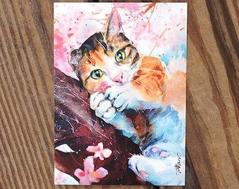 Sakura Calico Cat Watercolor Painting Cat Watercolor Postcard Digital printed postcard Cat Postcard Watercolor Painting Pet Watercolor Art