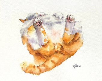 Ginger Cats Watercolor Painting Cat Original Art Custom Cat Portrait Pet Wall Kitten gift Birthday Personalized gift Animal