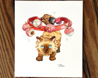 Cats and litchi rattle music fruit food Cat Watercolor Painting Cat Original Art Custom Cat Portrait Pet Wall Kitten gift Birthday