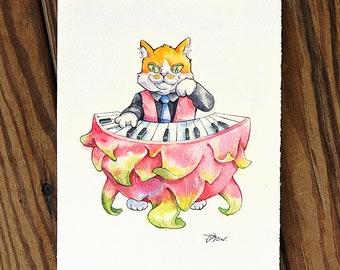 Cats and dragon fruit piano music fruit food Cat Watercolor Painting Cat Original Art Custom Cat Portrait Pet Wall Kitten gift Birthday