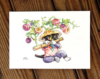 Cats and Star Apple Flute music fruit food Cat Watercolor Painting Cat Original Art Custom Cat Portrait Pet Wall Kitten gift Birthday