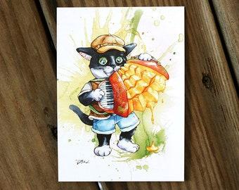 Cats and mango accordion music fruit food Cat Watercolor Painting Digital printed Postcard Watercolor Painting Pet Watercolor Art