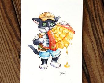 Cats and mango accordion music fruit food Cat Watercolor Painting Cat Original Art Custom Cat Portrait Pet Wall Kitten gift Birthday