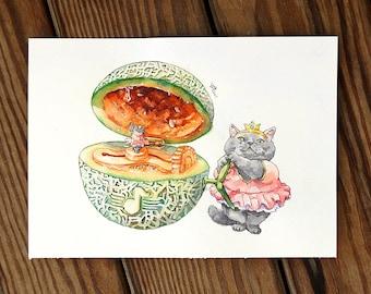 Cats and cantaloupe ballet music box fruit food Cat Watercolor Painting Cat Original Art Custom Cat Portrait Pet Wall Kitten gift Birthday