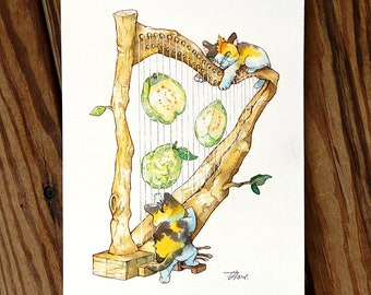 Cats and guava harp music fruit food Cat Watercolor Painting Cat Original Art Custom Cat Portrait Pet Wall Kitten gift Birthday