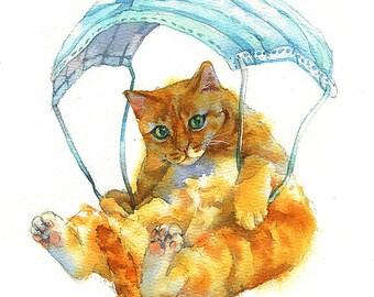 Ginger Cats Mask Parachute Watercolor Painting Cat Original Art Custom Cat Portrait Pet Wall Kitten gift Birthday Personalized gift Animal