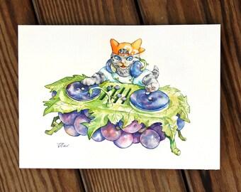 Cats and grapes DJ disco music fruit food Cat Watercolor Painting Cat Original Art Custom Cat Portrait Pet Wall Kitten gift Birthday
