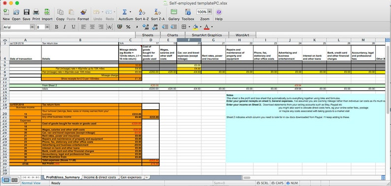 Easy-to-use UK Self Assessment spreadsheet - Excel for PC Office 2010