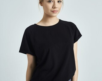 8776a292a610 JANIS | | Organic Cotton Black Shirt - Loose Black T-Shirt - Natural  Organic Shirt