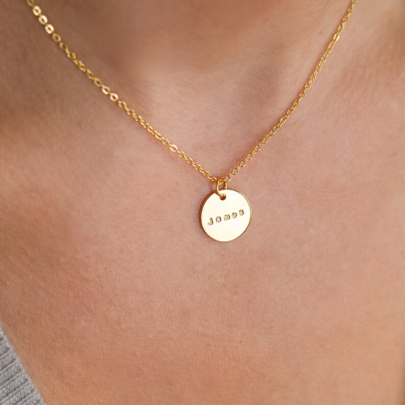 GoldSilver Name Necklace  Personalised Disc Name Necklace