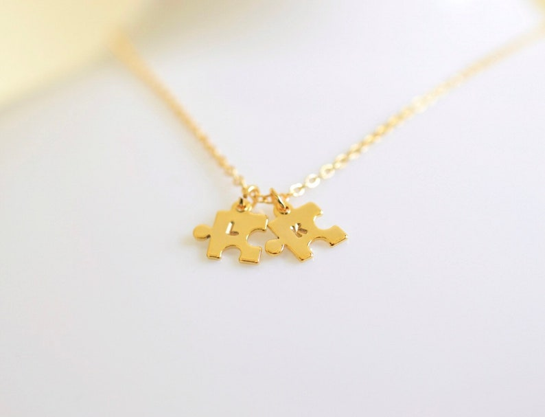 GoldSilver Puzzle Necklace  Personalised Necklace  Jigsaw Necklace