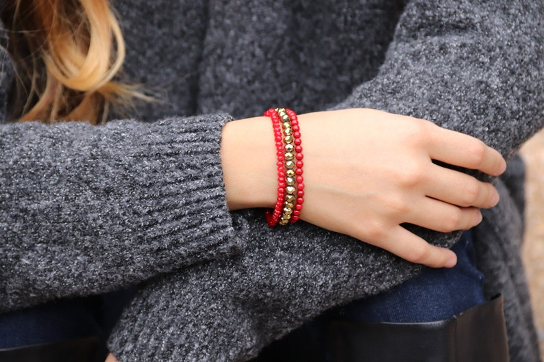 Red and Gold Stackable Bracelets image 0