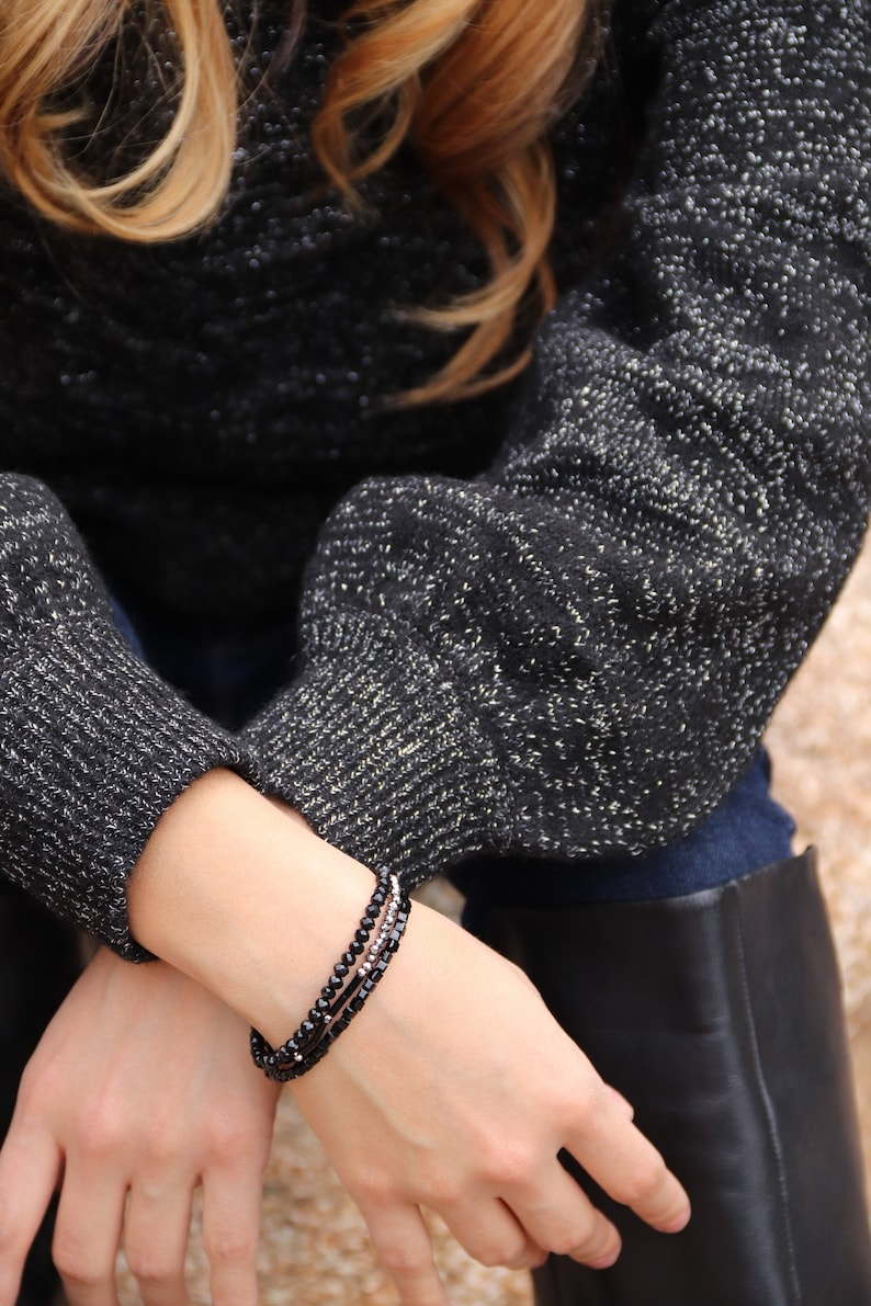 Dainty Stackable Black Bracelets image 0