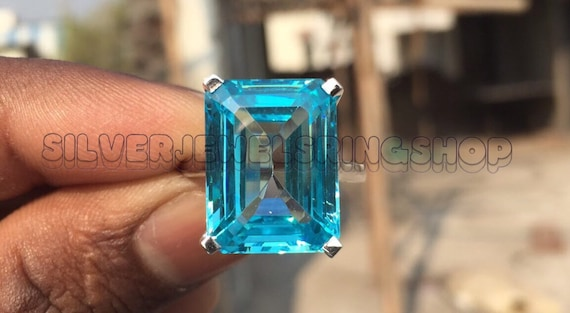 Promise Ring Most Expensive Celebrity Inspired Huge 16*13mm Aquamarine Lab Made Emerald Cut Diamond Solitaire Wedding Engagement Ring