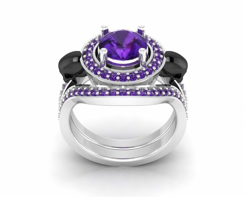Two Tone Ringsets Skull Ringsets For Women/'s 925 Sterling Silver 1.25ct amethyst Round Cut Cubic Zirconia Diamond Gothic Skull Ringsets