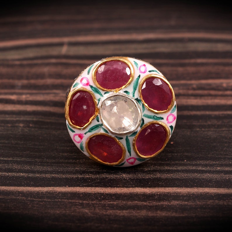 Kundan Meena Enamel Statements Rose Cut Diamond Polki Ruby 925 Sterling Silver Handmade Ring Jewelry