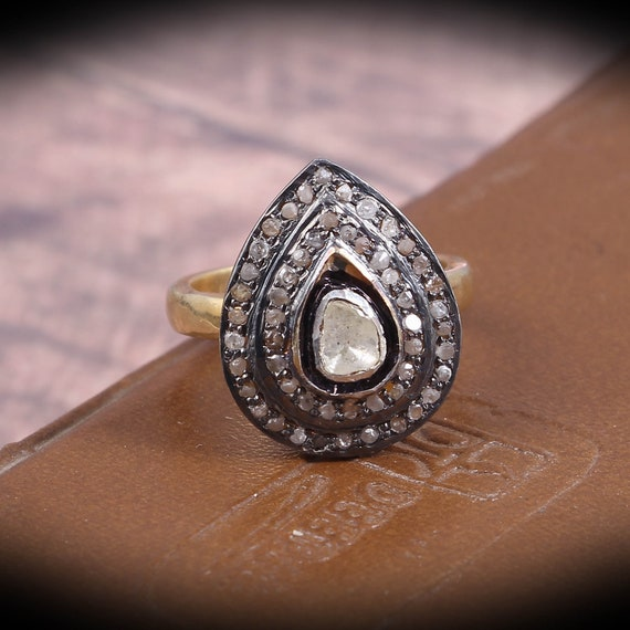 Natural Polki /& Pave Diamond Ring 925 Fine Sterling Silver Ring Handmade Jewelry