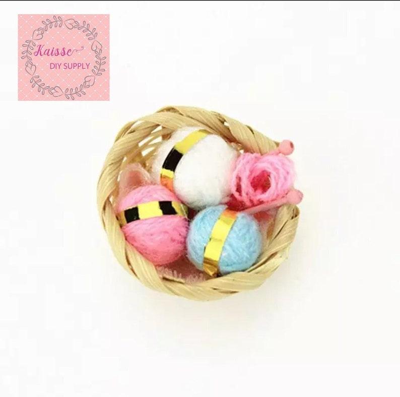1:12 dollhouse woven wool basket miniature woven wool basket dollhouse decoration