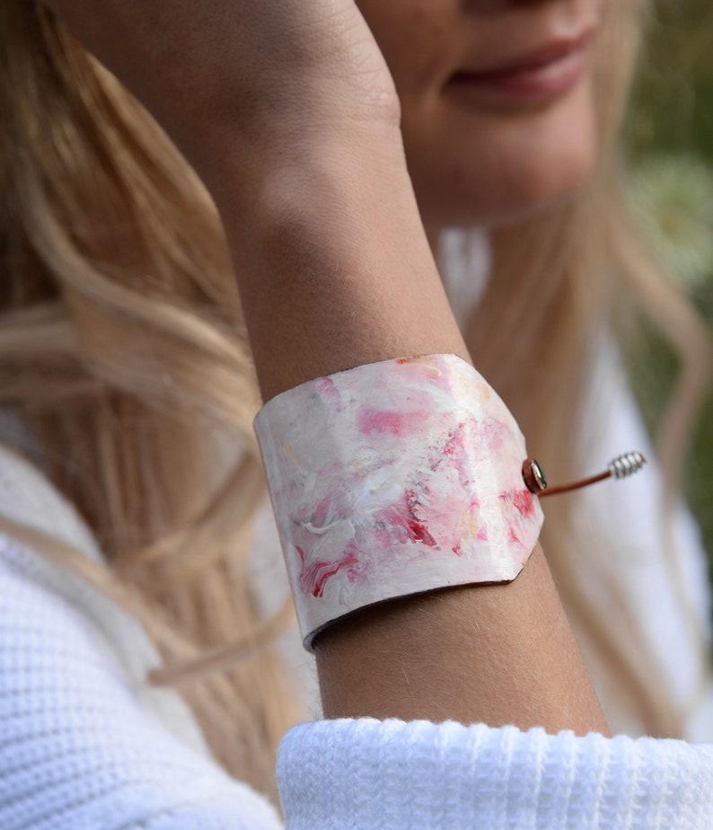 sallie otenasek, artisan paper jewelry wide Cuff white woodscape hand painted bracelet grey pink