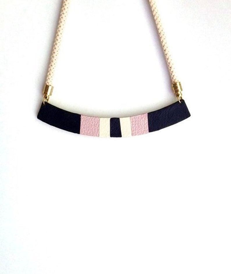 Striped Leather Necklace Bib Necklace Black Cream /& Pink Necklace Geometric Necklace The Sweetest Little Song Necklace