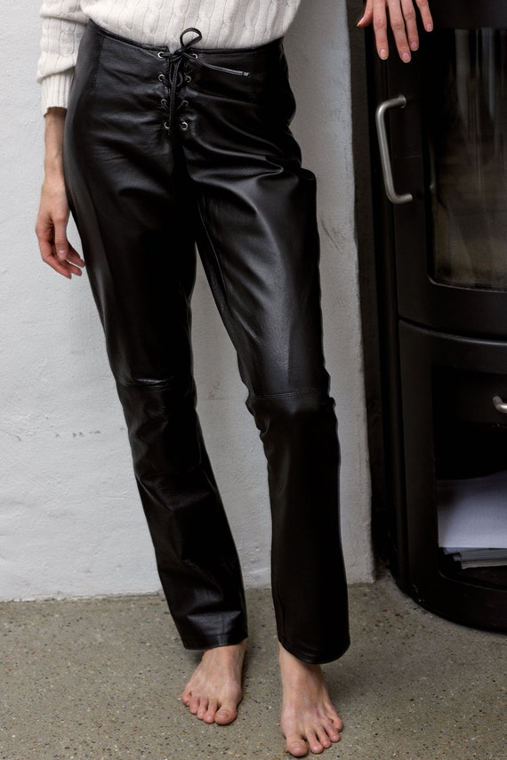 latest collection look out for undefeated x Lace Up Leather Pants