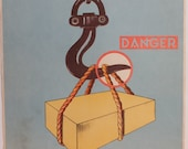 Vintage French safety poster wall art Durupt train rail dangers of lift cranes crooked hook heavy weight retro 1950s 1960s health and safety