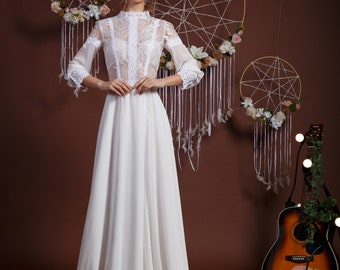 Collection Here 2019 Informal Long Modest Wedding Dresses With 3/4 Sleeves Lace Top Tulle Skirt Beach Reception Wedding Bridal Gowns Custom Made Weddings & Events