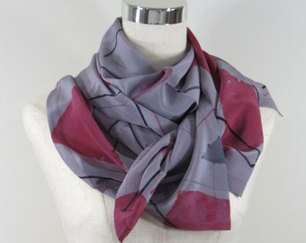 Silk Scarf Hand Dyed Geo Design, Gift for her