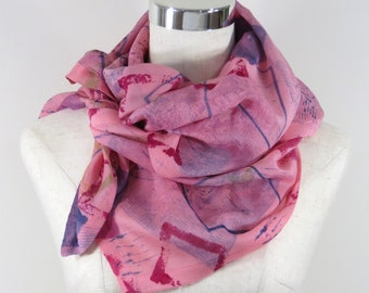 Silk/Wool Scarf Hand Dyed Geo Design, Gift for her, woman's scarf