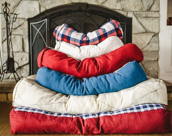 Pet Bed, Eco friendly small dog bed, cat bed, cozy pet bed, made from upcycled fabric. Stuff your own OR stuff with all-natural Kapok fibre