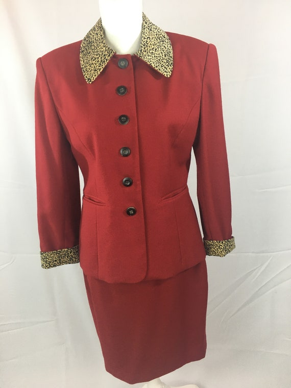 Vintage Adolfo Atelier Red Wool Ladies Suit with L